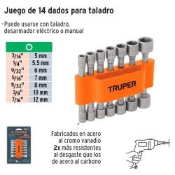 Juego de Dados Magneticos para Taladro 14 Piezas TRUPER