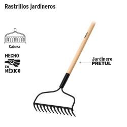 """Rastrillo Jardinero 12 Dientes Mango 48"""" PRETUL"""