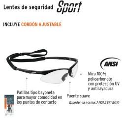 Lentes de Seguridad con Cordon Ajustable Sport TRUPER