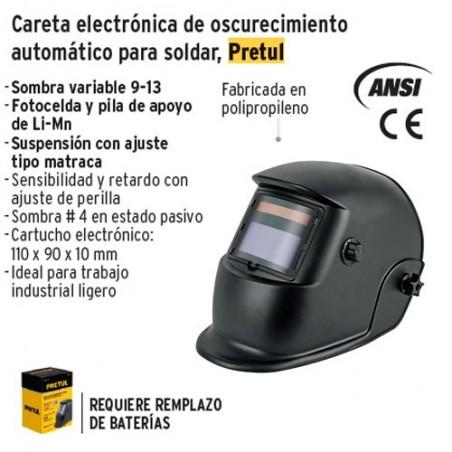 Careta Electronica de Oscurecimiento Automatico para Soldar PRETUL