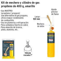 Kit de Mechero y Cilindro de Gas Propileno 400 g Amarillo TRUPER