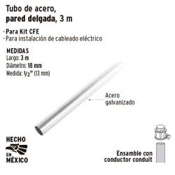 Tubo de Acero Conduit Pared Delgada 3 m VOLTECK