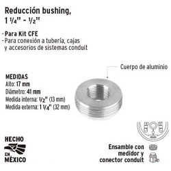 "Reduccion Bushing 1 1/4"" - 1/2"" para Base de Medidor VOLTECK"