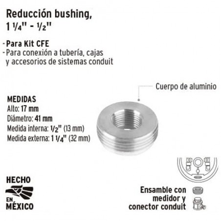 "Reduccion Bushing 1 1/4"" - 1/2"" para Base de Medidor VOLTECK"
