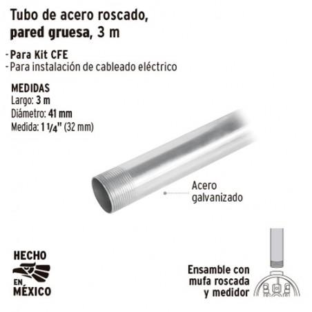 """Tubo de Acero Roscado para Mufa 1 1/4"""" Pared Gruesa 3 m VOLTECK"""