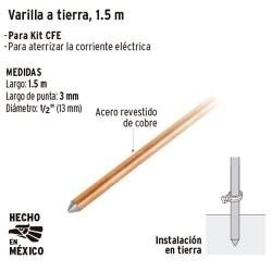 Varilla de Acero Cobrizado a Tierra 1.5 m VOLTECK