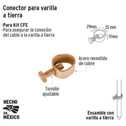 """Abrazadera """"Conector"""" para Varilla a Tierra VOLTECK"""