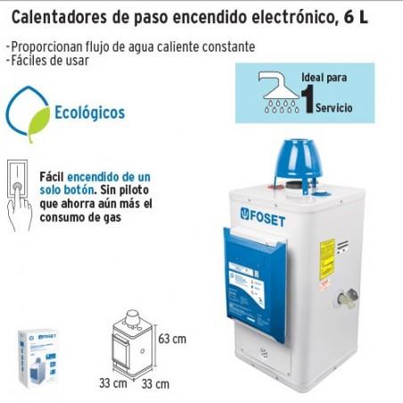 Colentador de Agua de Paso 6 L/min Encendido Electronico FOSET