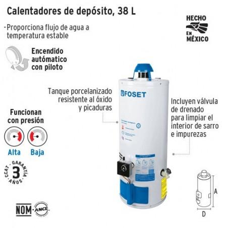 Calentador de Agua de Deposito 38 L FOSET