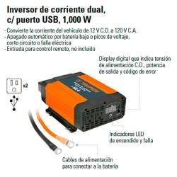 Inversor de Corriente Dual con Puerto USB 1000 W TRUPER