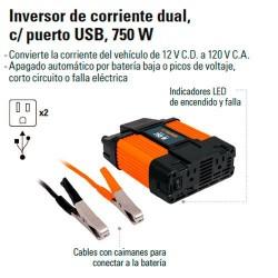 Inversor de Corriente Dual con Puerto USB 700 W TRUPER