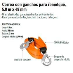 Correa con Ganchos para Remolque 5.8 m x 48 mm TRUPER
