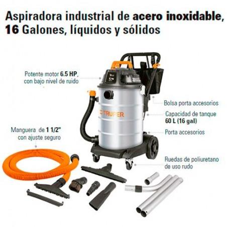 Aspiradora Industrial de Acero Inoxidable 16 Galones TRUPER