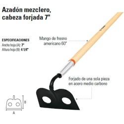 """Azadón Mezclero Cabeza Forjada 7"""" TRUPER"""