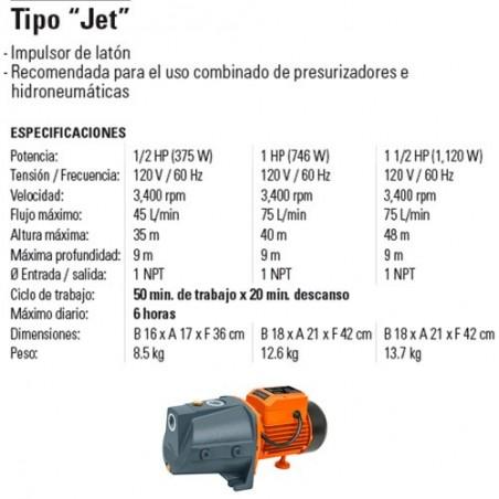 "Bomba Hidroneumática Tipo ""Jet"" TRUPER"