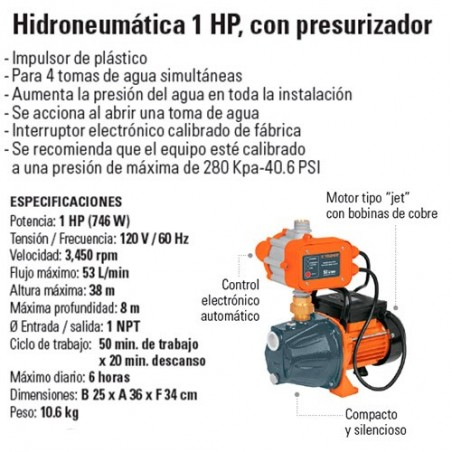 Bomba Hidroneumatica 1 HP con Presurizador TRUPER