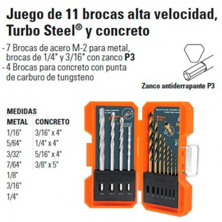 Juego de 11 Brocas Alta Velocidad Turbo Steel y Concreto TRUPER