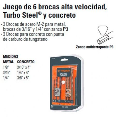 Juego de 6 Brocas Alta Velocidad Turbo Steel y Concreto TRUPER