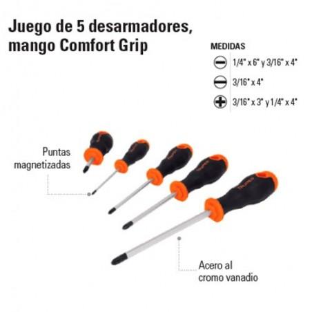 Juego de 5 Desarmadores Mango Comfort Grip TRUPER