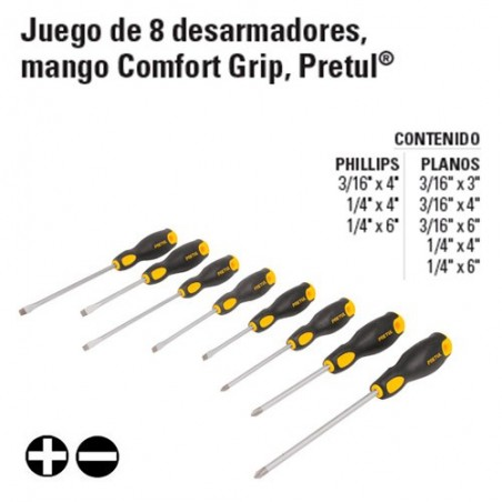 Juego de 8 Desarmadores Mango Comfort Grip PRETUL