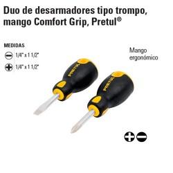 Duo de Desarmadores Tipo Trompo Mango Comfort Grip PRETUL