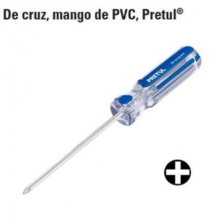 Desarmador de Cruz Mango de PVC PRETUL