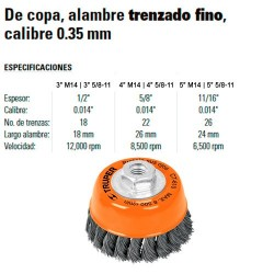 Carda de Copa Alambre Trenzado Fino Calibre 0.35 mm TRUPER