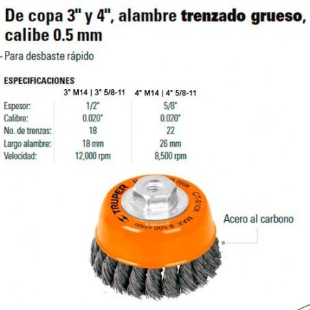 Carda de Copa Alambre Trenzado Grueso Calibre 0.5 mm TRUPER