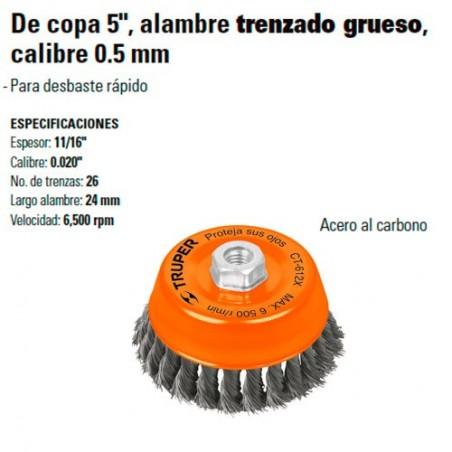"Carda de Copa 5"" Alambre Trenzado Grueso Calibre 0.5 mm TRUPER"