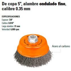 "Carda de Copa 5"" Alambre Ondulado Fino Calibre 0.35 mm TRUPER"