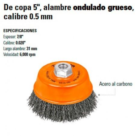 "Carda de Copa 5"" Alambre Ondulado Grueso Calibre 0.5 mm TRUPER"