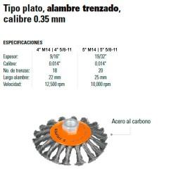 Carda Tipo Plato Alambre Trenzado Calibre 0.35 mm TRUPER