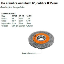 """Carda de Alambre Ondulado 6"""" Calibre 0.35 mm TRUPER"""