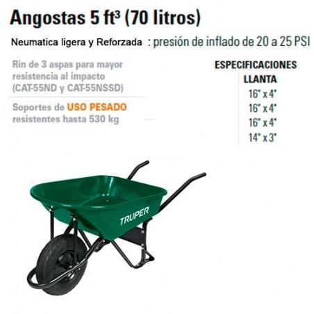 Carretilla Angosta 5 ft 3 (70 Litros) TRUPER