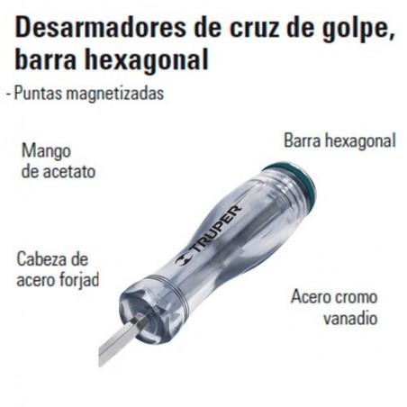 Desarmador de Cruz de Golpe Barra Hexagonal TRUPER