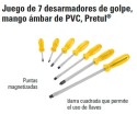 Juego de 7 Desarmadores de Golpe Mango Ámbar de PVC PRETUL