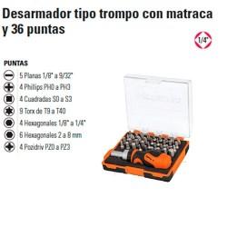 """Desarmador Tipo Trompo con Matraca y 36 Puntas 1/4"""" TRUPER"""