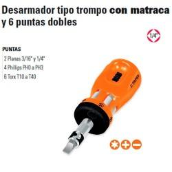 """Desarmador Tipo Trompo con Matraca y 6 Puntas Dobles 1/4"""" TRUPER"""