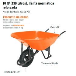 Carretilla 10 ft 3 (130 Litros) Llanta Neumática Reforzada TRUPER