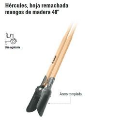 """Cavadora Hércules Hoja Remachada Mango de Madera 48"""" TRUPER"""