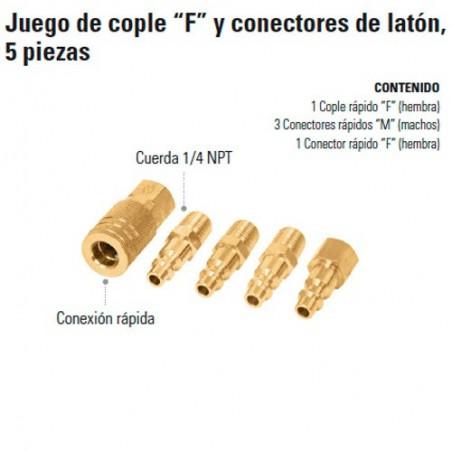 """Juego de Cople """"F"""" y Conectores de Latón 5 Piezas TRUPER"""