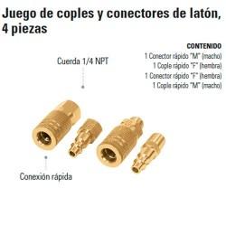 Juego de Coples y Conectores  de Latón 4 Piezas  TRUPER