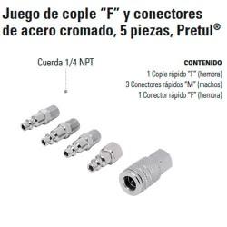 """Juego de Cople """"F"""" y Conectores de Acero Cromado 5 Piezas PRETUL"""