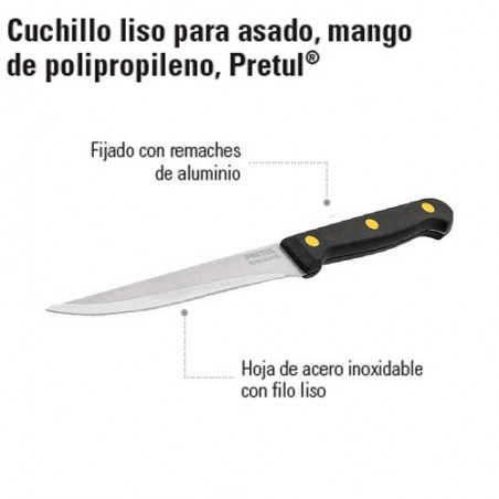 Cuchillo Liso Mango de Polipropileno PRETUL