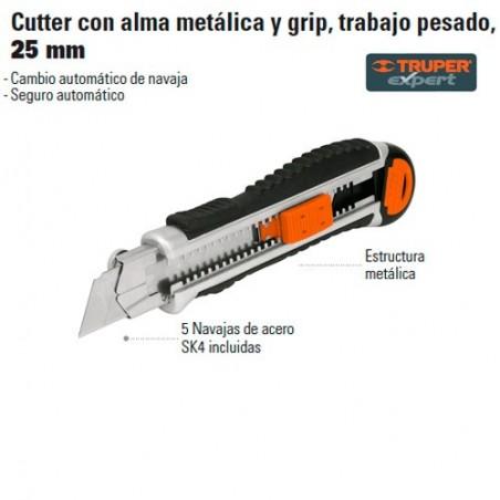 Cutter con Alma Metálica y Grip Trabajo Pesado 25 mm TRUPER
