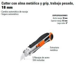Cutter con Alma Metálica y Grip Trabajo Pesado 18 mm TRUPER