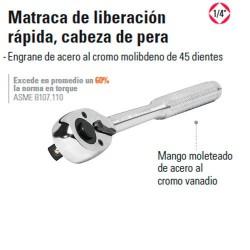 """Matraca de Liberación Rapida Cabeza de Pera 1/4"""" TRUPER"""