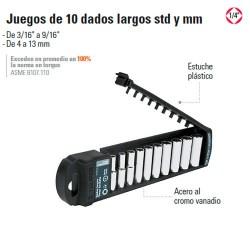 """Juego de 10 Dados Largos 1/4"""" TRUPER"""