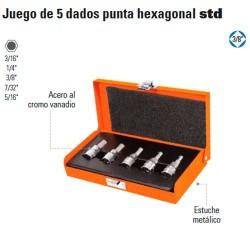"Juego de 5 Dados Punta Hexagonal STD 3/8"" TRUPER"