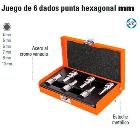 "Juego de 6 Dados Punta Hexagonal MM 3/8"" TRUPER"